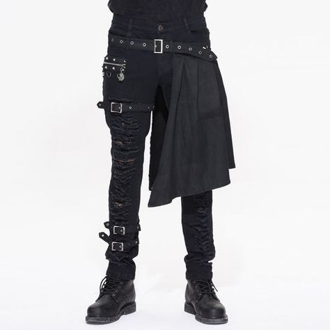 online shopping for Devil Fashion Men Trouers Kilt Holes Gothic Detachable Slim Casual Pants from top store. See new offer for Devil Fashion Men Trouers Kilt Holes Gothic Detachable Slim Casual Pants Gothic Fashion Men, Mens Fashion, Fashion Outfits, Gothic Men, Steampunk Fashion Men, Fashion Black, Fashion 2017, Mens Gothic Pants, Mode Punk