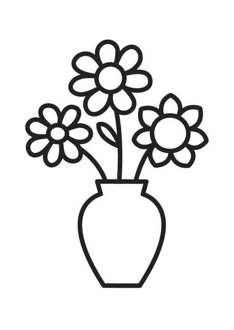 Coloring Page Vase With Flower Vase Drawing Flower Coloring