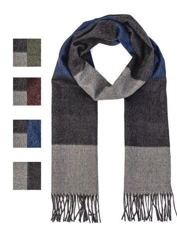 Color Block Scarf Extra Long Mens Knitted Scarf Color Block Scarf Grey Scarf Knit
