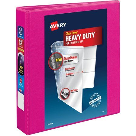 Avery Heavy Duty View 3 Ring Binder 1 5 Slant Rings Pink Walmart Com Heavy Duty Binder Covers Binder Sizes