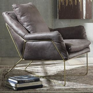 Signature Design By Ashley Engineer Accent Chair In Dark Gray Chair Rustic Chair Leather Accent Chair
