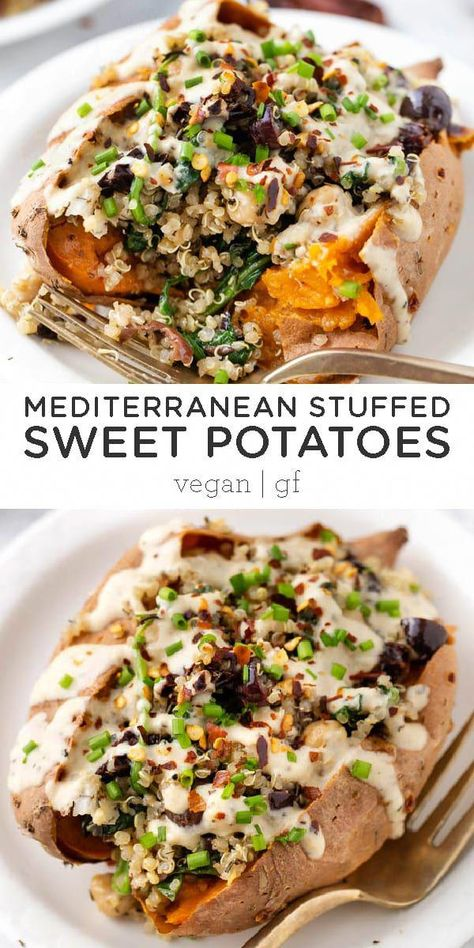 Vegan Stuffed Sweet Potatoes recipe filled with a Mediterranean Quinoa using sun-dried tomatoes, olives, spinach and tons of flavor! Super healthy and easy - baked in the oven! Delicious vegan and gluten-free dinner idea. #sweetpotatorecipes #stuffedsweetpotato #mediterraneanquinoa #healthydinner