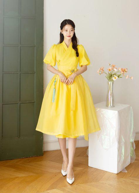 Oganza Solid Modern Hanbok Dress For Women   Hanbok Skirt   Midi Dress   Korean Style (CL00088C)
