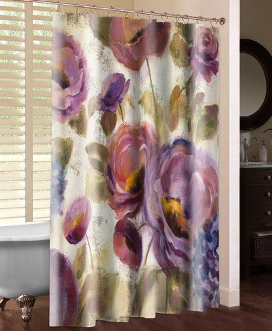 Precious Purples And Blues Shower Curtain Blue Shower Curtains Flower Shower Curtain Blue Purple Flowers