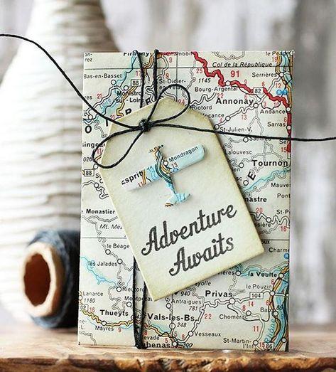 gutschein reise basteln ideen weltkarte geschenkanhänger #gifts #ideas #bastelideen # travel Gift Ideas 13 Ideen, wie Sie einen Gutschein basteln oder kreativ verpacken
