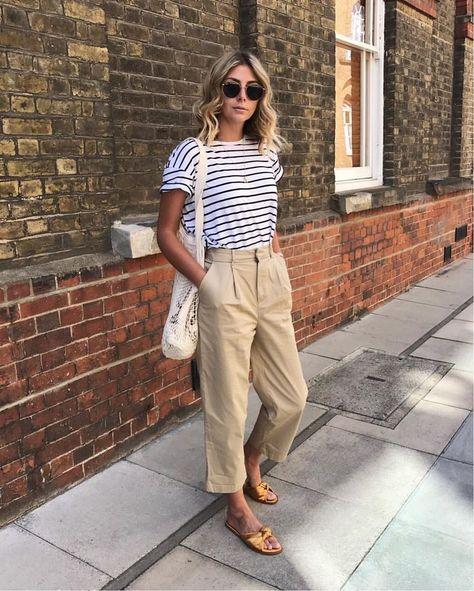 Cute casual summer look: tan chinos with a striped nautical top | jaimekrzos