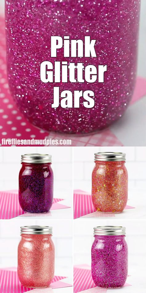Learn how to make 4 unique DIY pink glitter jars with our helpful step-by-step instructions and video tutorial. They are perfect for practicing mindfulness with kids of all ages! #pink #glitter #jars