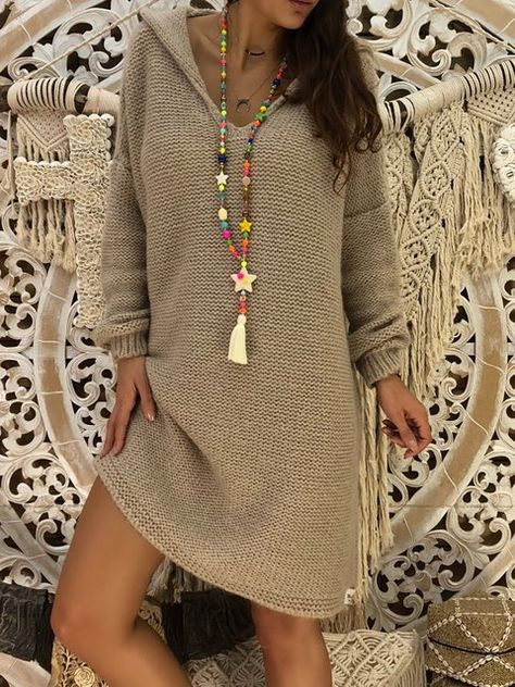 Dresses,Casual Dress,Hoodie Gray Shift Women Daily Elegant Knitted Long Sleeve Paneled Solid Casual Dress