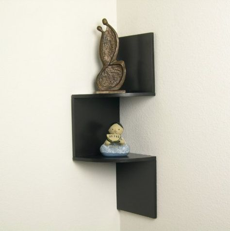 Floating 2-Tier Display Corner Shelf QBA671SR1 Decorative Wall D/écor Danya B Walnut Finish