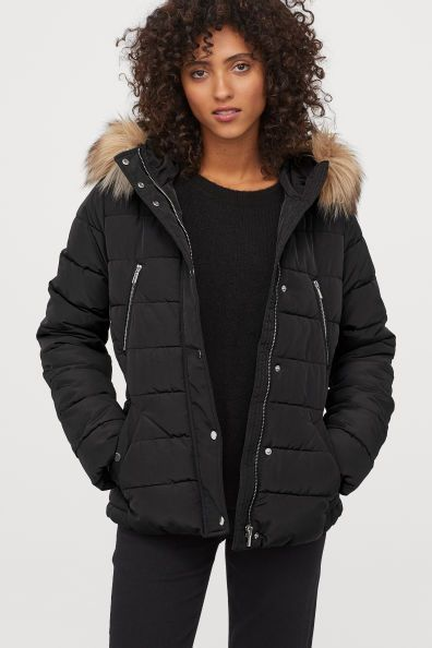 Padded Jacket Black Ladies H M Us, H M Black Coat Fur Hood