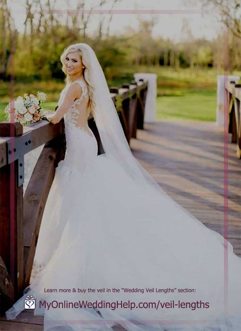 Long wedding veils are popular because of their dramatic appearance. Samantha sells the veil in the picture in any length, from elbow to royal cathedral. Look for how to buy it in the long veils section of the wedding veil length and types post. On the MyOnlineWeddingHelp.com blog. #WeddingVeils #LongVeil #VeilLengths
