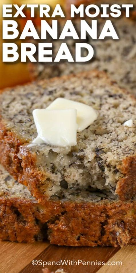 This is an easy Banana Bread recipe that makes a soft and moist banana bread Once you try this it ll become your go-to to use ripe bananas spendwithpennies bananabread easybananabread quickbananabread nofail nofailbananabread # Easy Bread Recipes, Banana Bread Recipes, Easy Banana Desserts, Easy Banana Nut Bread Recipe Moist, Banana Bread Recipe Using Sour Cream, Banana Bread Recipe With Butter, Easy Moist Banana Cake, Hawaiian Banana Bread Recipe, Ripe Banana Recipes Healthy