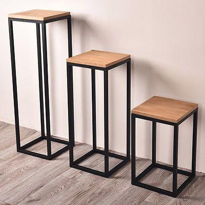 Details About Industrial Metal Corner Table Storage Display Plant