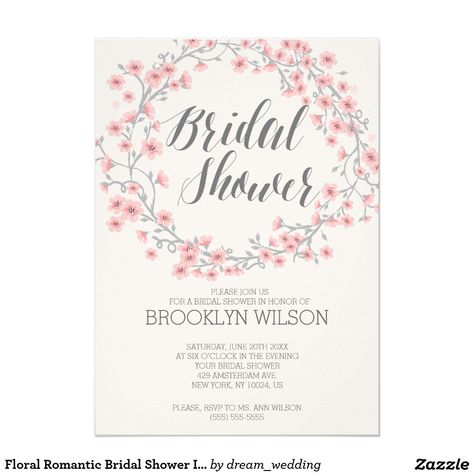 floral romantic bridal shower invites pink wreath