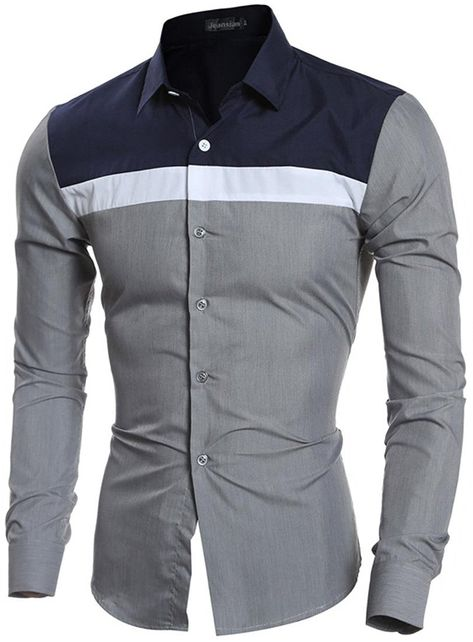 163496bff49 jeansian Men s Fashion Hit Color Stitching Long-Sleeved Shirts 84M5 Gray M   Amazon.ca  Clothing   Accessories