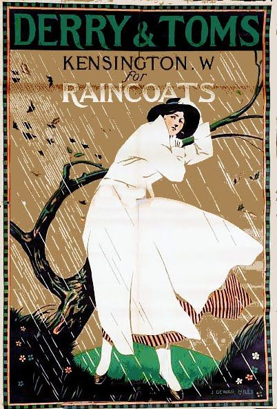 Derry & Toms, Kensington. W. Raincoats - Vintage advertising poster by J. Dewar Mills (c. 1920)