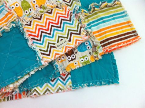 rag quilt for a baby boy. These are FUN to make!