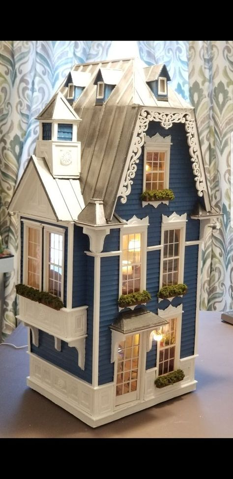 Miniature Dollhouse Room Box Wall Art Mirror Reflection Classic Handmade