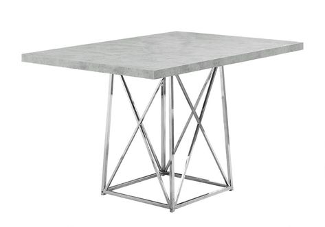 Dining Table 36 Inch X 48 Inch Grey Cement Chrome Metal Grey