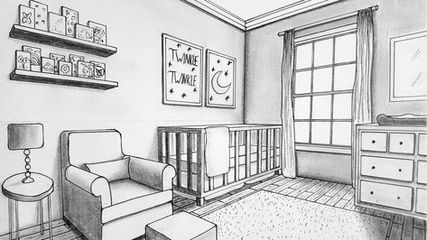 Drawing In Two Point Perspective Nursery Room Timelapse Youtube Perspective Room Perspective Drawing Architecture Interior Design Sketches