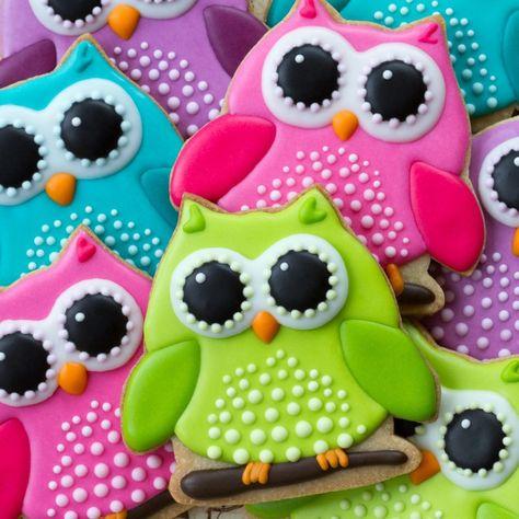 Buy Owl cookies by RuthBlack on PhotoDune. Array of colorful owl cookies Summer Cookies, Fancy Cookies, Iced Cookies, Cute Cookies, Royal Icing Cookies, Cookies Et Biscuits, Cupcake Cookies, Owl Sugar Cookies, Flower Sugar Cookies
