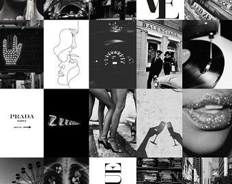 Wall Collage Kit Etsy Black Aesthetic Wallpaper Vintage Photo Prints Black And White Aesthetic