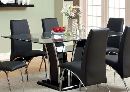 Glenview Collection Cm8372bk T Table 72 Glass Dining Table With