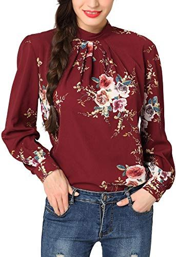 Abollria Womens V Neck Blouse Floral Print 3//4 Sleeve Loose Casual Top Shirt