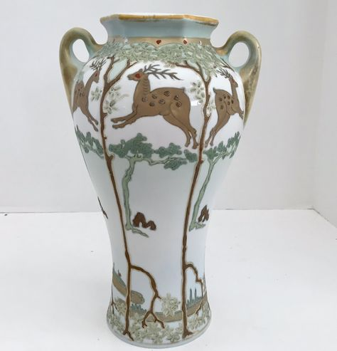 Antique Royal Nisiki Nippon Porcelain Hand Painted 12 Vase