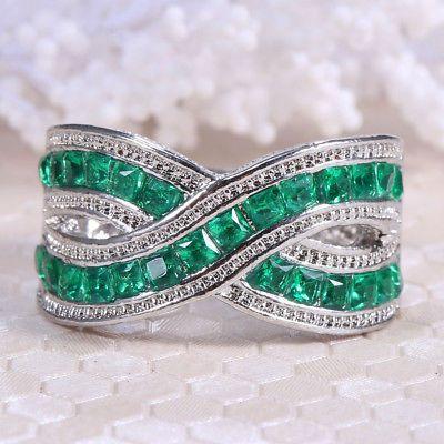 4.3CT Mystic Rainbow Topaz 925 Silver Ring Women Men Wedding Engagement Size6-10