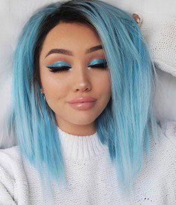 Starry Sky Black Roots Straight Version Hair Styles Blue Hair