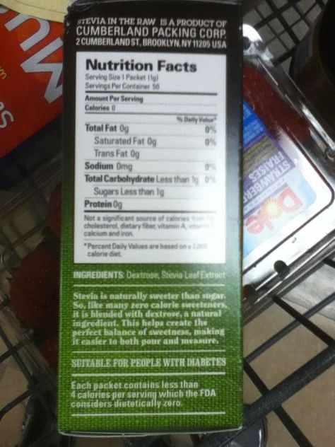33 Stevia In The Raw Nutrition Label - Labels Database 2020