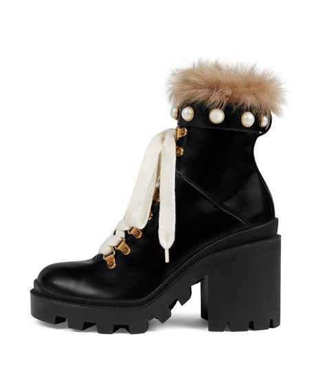 83a4d1900 GUCCI | Leather Combat Boots with Fur Trim | $1,490.00 | Gucci shiny leather  combat boot with pearly studs. Dyed lamb shearling (New Zealand) top collar.
