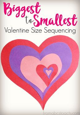 ready for Valentine& Day with this size sequencing heart activity that . - Valentine's Day -Get ready for Valentine& Day with this size sequencing heart activity that . Preschool Valentine Crafts, Valentines Day Activities, Baby Crafts, Kids Crafts, Room Crafts, Toddler Crafts, Valentine Theme, Valentines Day Hearts, Valentine Decorations