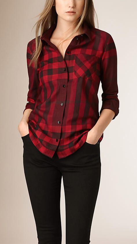 Burgundy red Check Cotton Flannel Shirt - Image 1
