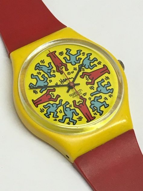 Vintage Keith Haring Swatch Watch Modele Avec Personnages 1985 Case Included Red Yellow People Retro Easter Gift by ThatIsSoFunny on Etsy