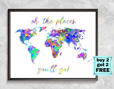 Rainbow World Map Print World Map Watercolor Map Wall Decor Home
