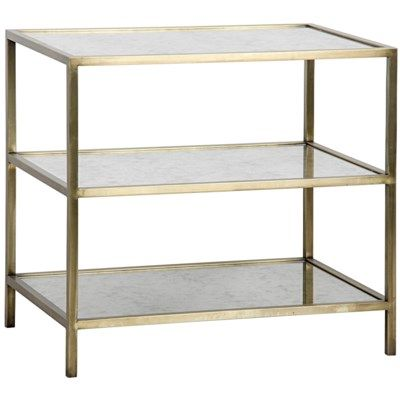 3 Tier Side Table Antique Brass Metal And Antique Mirror Furniture Mirrored Accent Table Mirrored Side Tables
