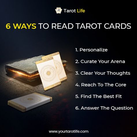 6 Ways to Read Tarot Cards #TarotLife #tarot #tarotcards #tarotreadings #tarotread #tarotguide #tarotmagic #tarotreadingsonline #tarottips #onlinetarotreading #freetarotreading  #tarotguide #tarotmagic #magic #wand #futurepredictions
