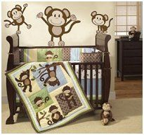baby boy bedding that is mint green brown and baby blue blue