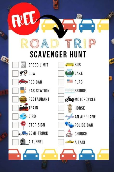 Free Road Trip Scavenger Hunt Game For Kids