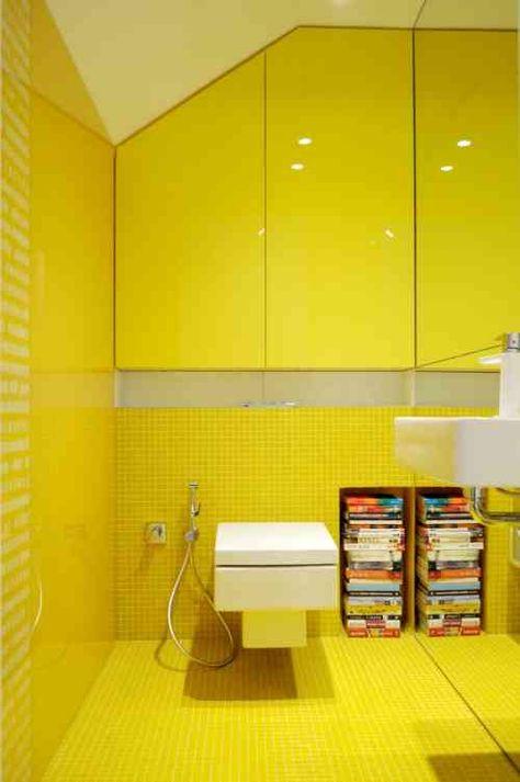 Toilettes Modernes Avec Carrelage Jaune Salles De Bains Wc