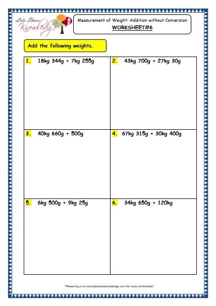 Grade 3 Maths Worksheets 12 3 Measurement Of Weight Addition Without Conversion Grade 3 Maths Worksheets 3rd Grade Math Math Word Problems 3rd grade math measurement worksheets