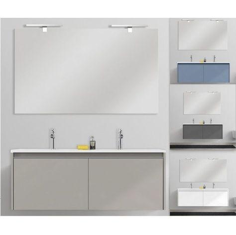 Mobile bagno moderno Yang 120 cm sospeso doppio lavabo mineralmarmo ...