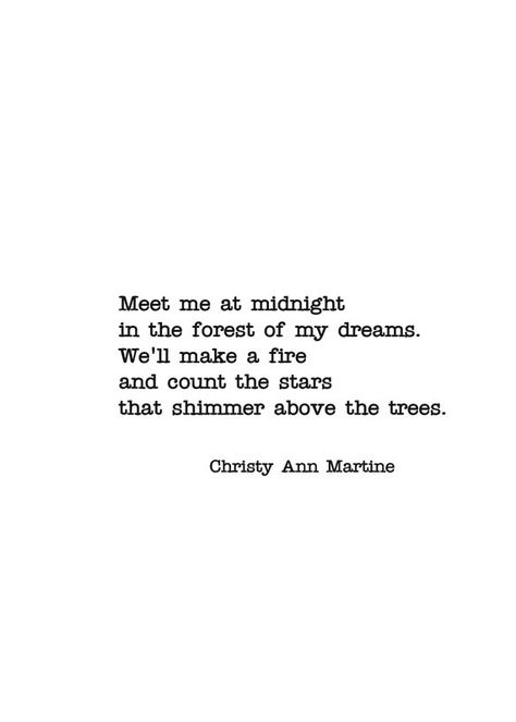 Wall Quotes Decor - Romantic Wall Art Poem Print - Meet Me at Midnight In the Forest of My Dreams - Size 5 x 7 Inches