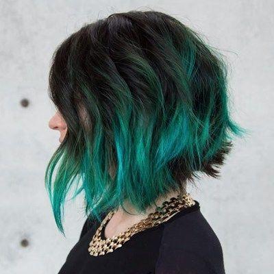 Guy Tang S Purple To Green Behindthechair Com Short Hair Color Messy Bob Hairstyles Green Hair
