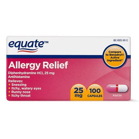 Equate Allergy Relief Diphenhydramine Capsules 25mg 100 Ct Walmart Com Allergy Relief Natural Allergy Relief Allergies