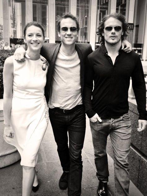 OFF SET--Claire (Caitriona Balfe), Frank (Tobias Menzies), and Jamie (Sam Heughan) #outlander