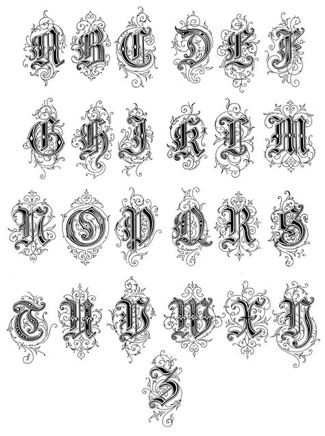 Old English Style Letters These Old English Style Letters are from Art Alphabets and Lettering by J.M. Bergling, copyright 1918.