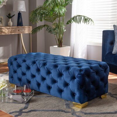 Mercer41 Cutright Button Tufted Ottoman Upholstery Colour Royal
